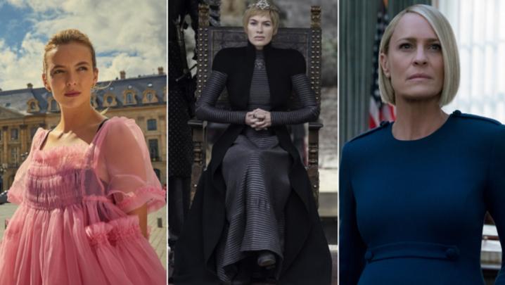 Villanelle (Jodie Comer) Cersei Lannister (Lena Headey) Claire Underwood (Robin Wright) (Credit: BBC/HBO/Netflix)