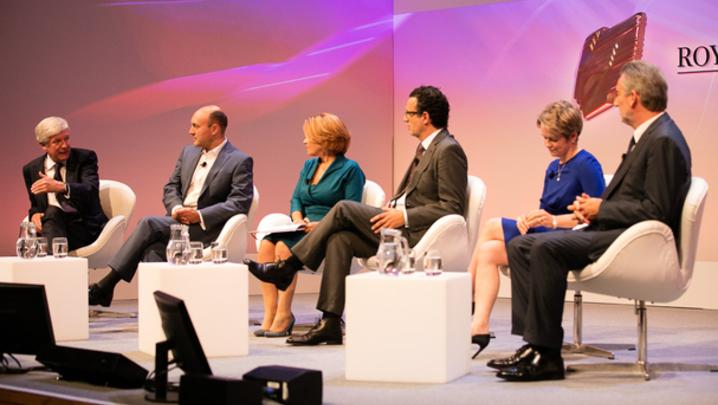 From left: Tony Hall, Andrew Griffith, Lorraine Heggessey, David Abraham, Dido Harding and Tom Mockridge (Credit: Paul Hampartsoumian)