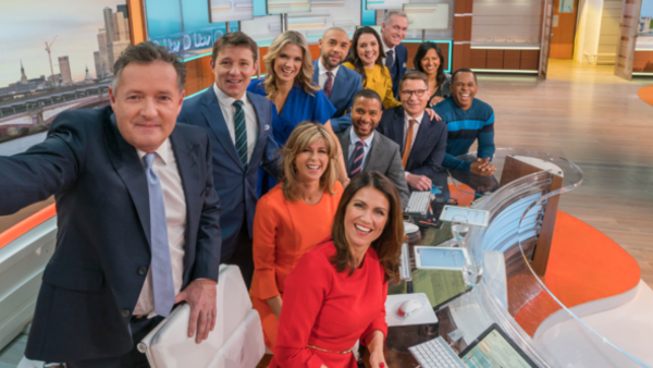 The Good Morning Britain team taking a group selfie (Credit: ITV)