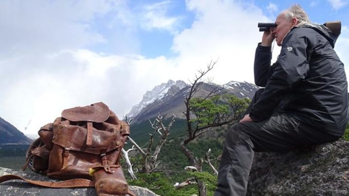 Werner Herzog with Chatwin's rucksack (Credit: BBC)