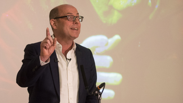 Nick Robinson delivering the inaugural Steve Hewlett Memorial Lecture (Credit: RTS/Paul Hampartsoumian)
