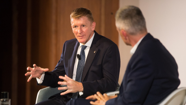 Tim Peake in conversation with Tim Davie (Credit: RTS/Paul Hampartsoumian)