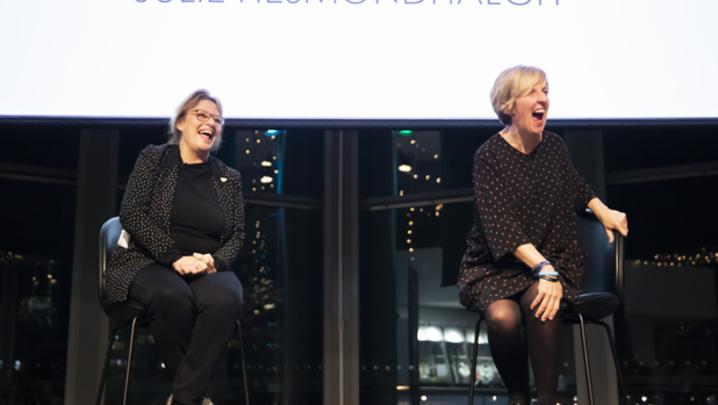 Julie Hesmondhalgh with Noreen Kershaw (Credit: Jess Boulton)