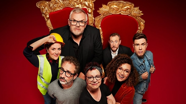 Katy Wix, David Baddiel, Greg Davies, Jo Brand, Rose Matafeo, Alex Horne and Ed Gamble (Credit: UKTV/Dave)