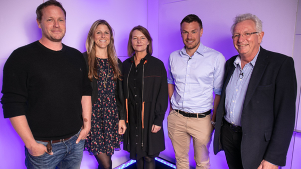 The panel (l-r): Jamie McPherson, Sophie Lanfear, Lynn Barlow, Oliver Scholey, Keith Scholey (Credit: RTS/Paul Hampartsoumian)