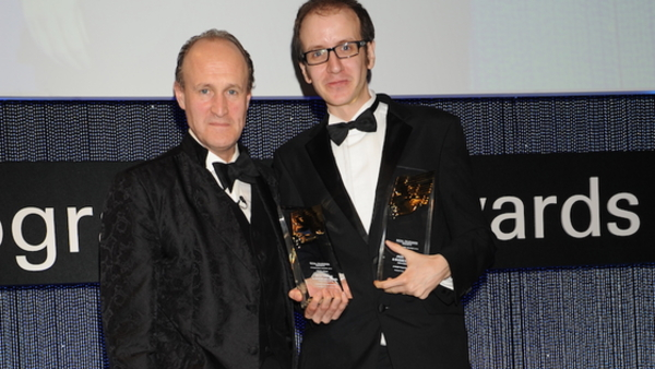 Jack Thorne with Sir Peter Bazalgette at the RTS Programme Awards 2011