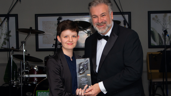 Young Technologist winner Carys Hughes, Sky UK, with Tony Orme RTS TVC Chairman (Credit: Matt Robbins)