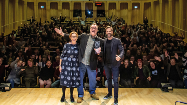 Russell T Davies with Gethin Jones (right) and Judith Winnan (left), who presented him with his RTS Fellowship (Credit: Aaron Lowe Photography)