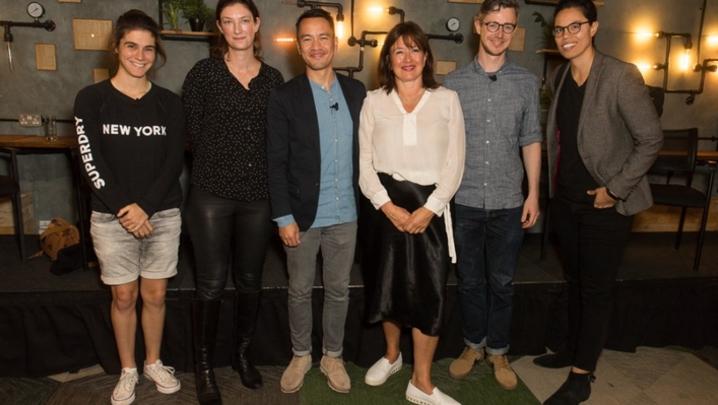 The panel (l-r) Sophie Petzal, Rachel Flowerday, John Jackson, Daisy Goodwin, David Hancock and Rachelle Constant (Credit: RTS/Paul Hampartsoumian)