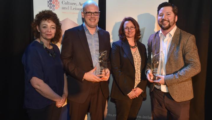 2016 winner Conn McKermott with Declan Keeney, Kelda Crawford-McCann and Caral Ni Chuilin
