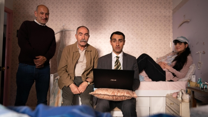 Steven (Jimmy Roussounis), Vasos (Christos Stergioglou), Stath (Jamie Demetriou) and Sophie (Natasia Demetriou) (Credit: Channel 4)