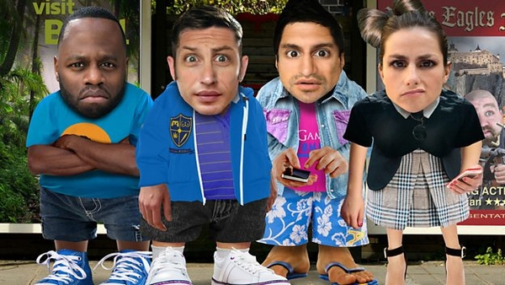 Sticky stars Javone Prince, Tom Hardy, Kayvan Novak and Charlotte Riley (Credit: BBC)
