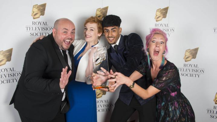 Winners of the drama award: Alex Lamb, Megan Parkinson, Nohail Mohammed and Lily Faith Knight (Ackley Bridge) (Credit: Paul Harness)
