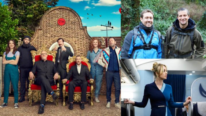 Taskmaster, Bear and Jonny Wilkinson's Wild Adventure and The Flight Attendant (credit: Channel 4/ ITV/ HBO)