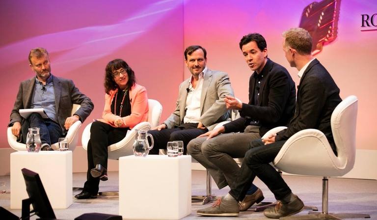The panel (L-R): Hugh Dennis, Sue Unerman, Jim Ryan, Simon Pitts and Ben McOwen Wilson  panel (L-R): Hugh Dennis, Sue Unerman, Jim Ryan, Simon Pitts and Ben McOwen Wilson (Credit: Paul Hampartsoumian)