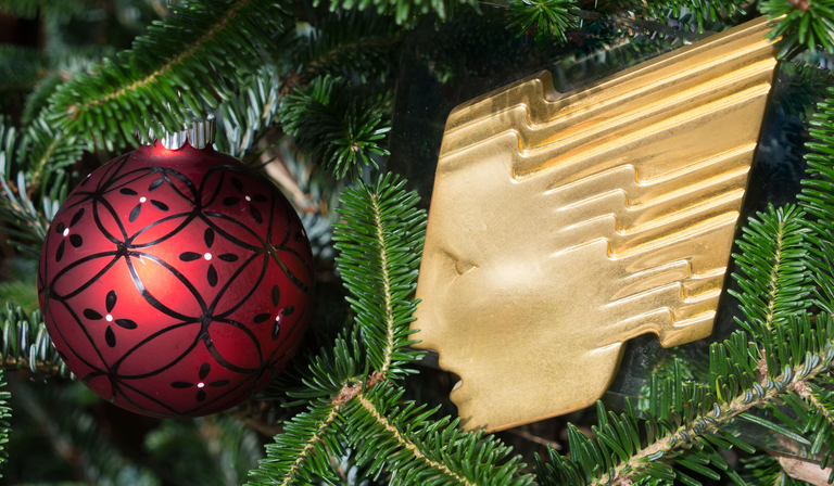 christmas tree with rts logo and bauble