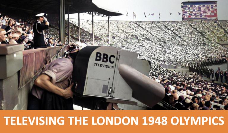 Retro photograph of a BBC camera filming the 1948 Olympics inside the stadium