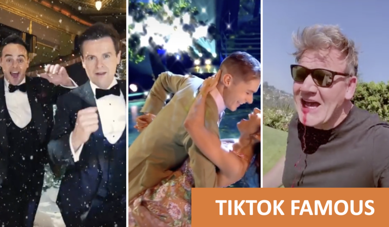 Three TikTok Videos in a row, featuring Ant and Dec, Strictly Come Dancing and Gordon Ramsey