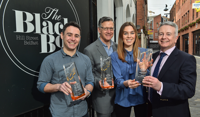 Launching this year's RTS NI Student Awards are: (l to r)  Kieran Doherty, Chair of RTS NI and joint MD of Stellify Media; Bernard McCloskey, Northern Ireland Screen; Eden Wilson, keynote speaker from UTV and Aidan Browne, Chair of RTS NI Student Awards