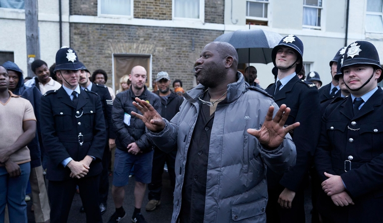 Director Steve McQueen on the set of BBC One's forthcoming 1970s drama Small Axe (credit: BBC)