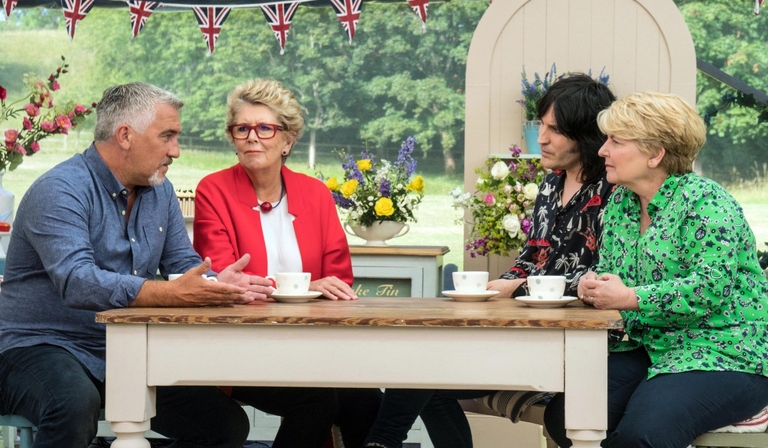 Paul Hollywood, Sandi Toksvig, Noel Fielding and Prue Leith in the rebooted Bake-off (Credit; Mark Bourdillon, Channel 4 Television)