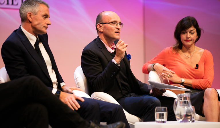 Tim Hincks (centre) speaking at the RTS London Conference 2016