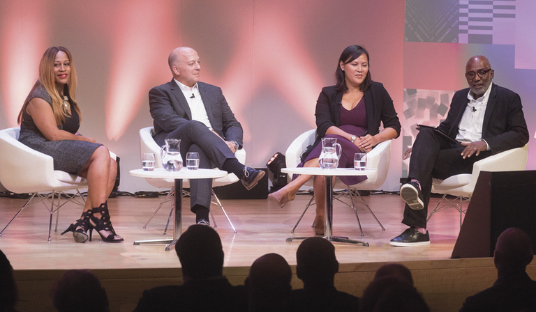Picture from left: Karen Blackett, Mark McLane, Anne Nguyen and Trevor Phillips (Credt: Paul Hampartsoumain)