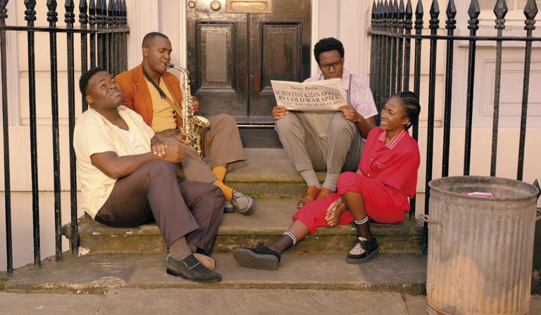 Samson Kayo (Horace), Kadiff Kirwan (Jason), Daniel Lawrence Taylor (Nick) and Adelayo Adedayo (Lauren) in Timewasters (Credit: ITV)