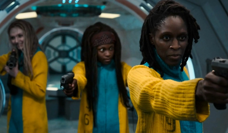 Sharon Duncan-Brewster (right) in Intergalactic (Credit: Sky)