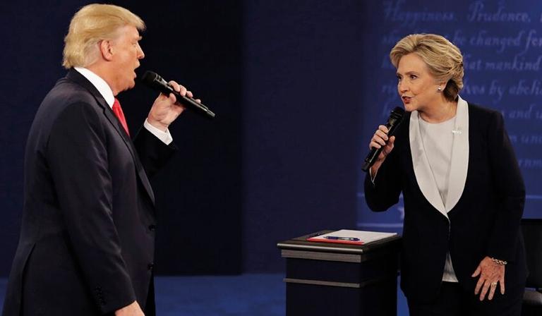 The second US Presidential debate, on 9 October (Credit: AP)